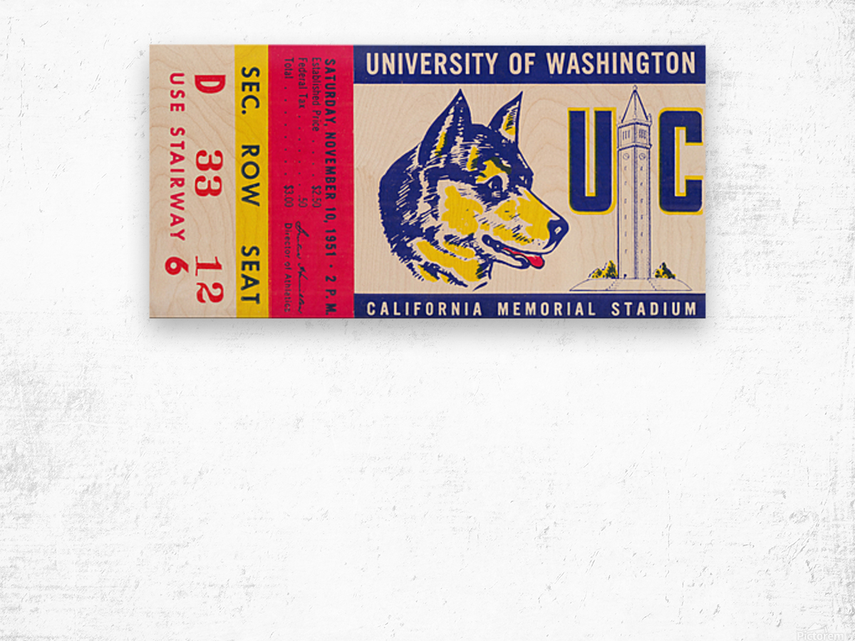 1951 California Bears vs. Washington Huskies Wood print