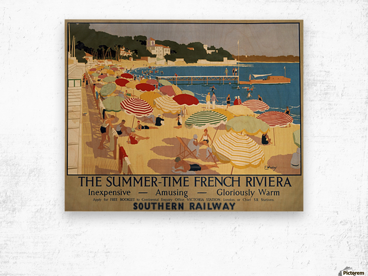 The Summertime French Riviera Southern Railway travel poster Wood print