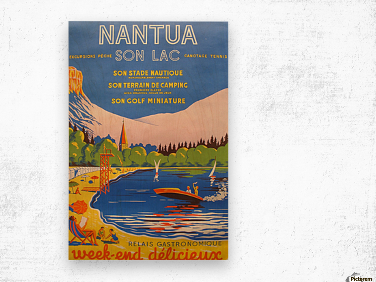 Vintage French Travel Poster for Nantua Wood print