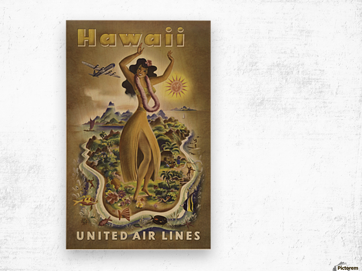 United Air Lines Hawaii Classic Travel Poster Wood print