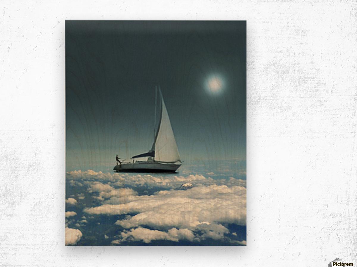 Navigating Trough Clouds Fantasy Collage Photo Wood print
