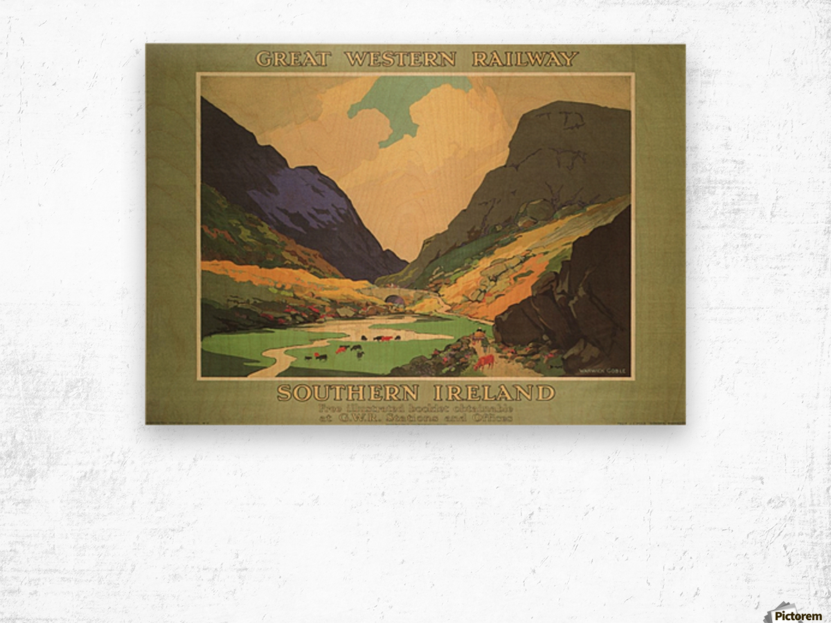 Southern Ireland Great Western Railway 1931 Vintage Travel Poster Wood print