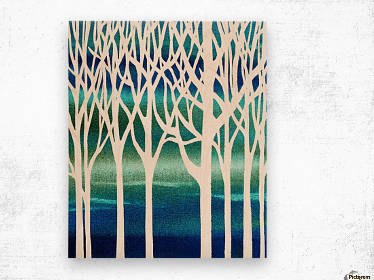 Blue Teal Forest  Wood print