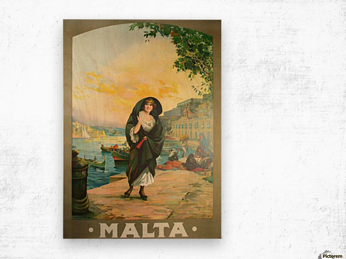 Original travel poster for Malta in 1900 Wood print