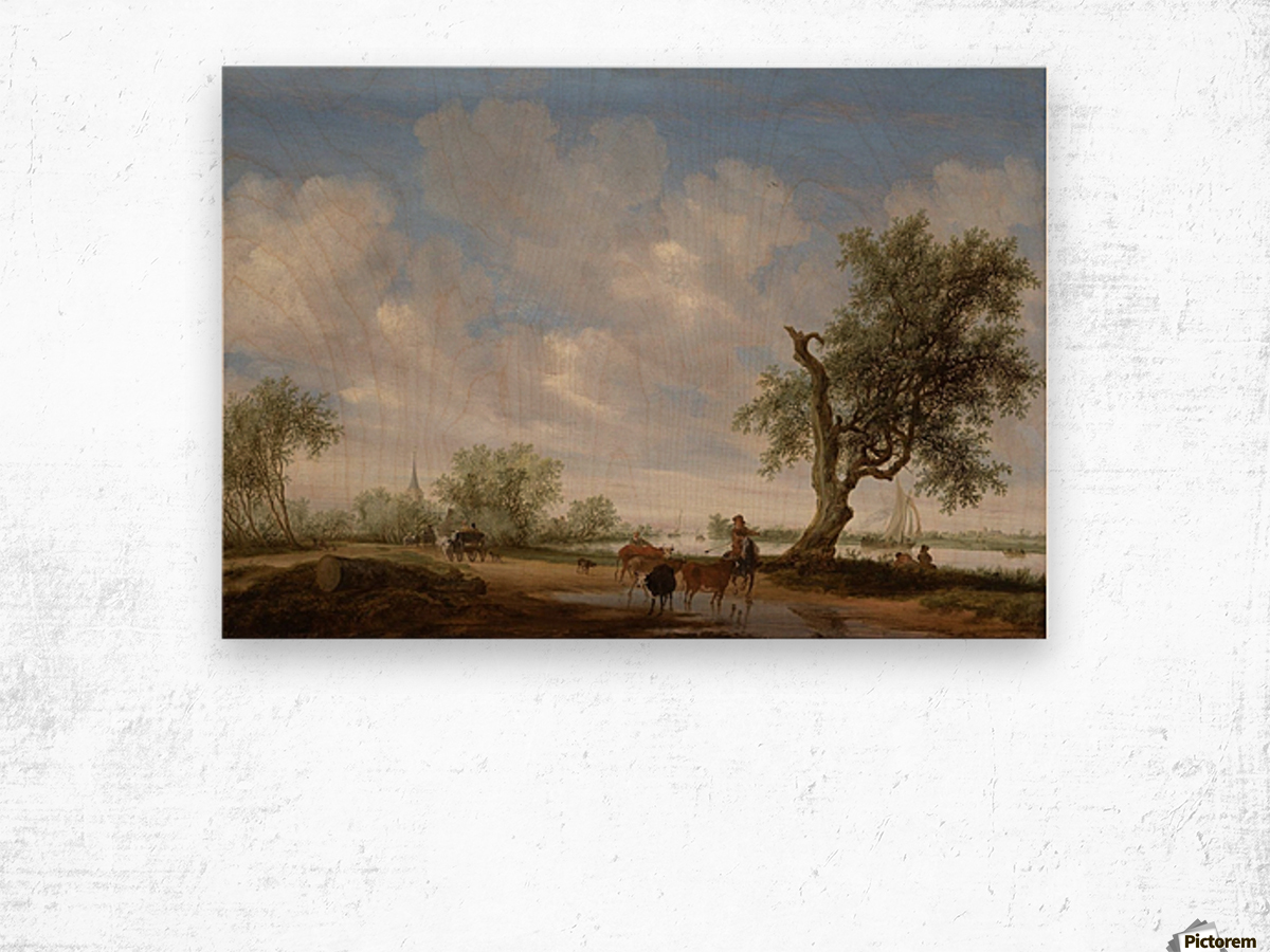 Landscape with a Road alongside a River Wood print