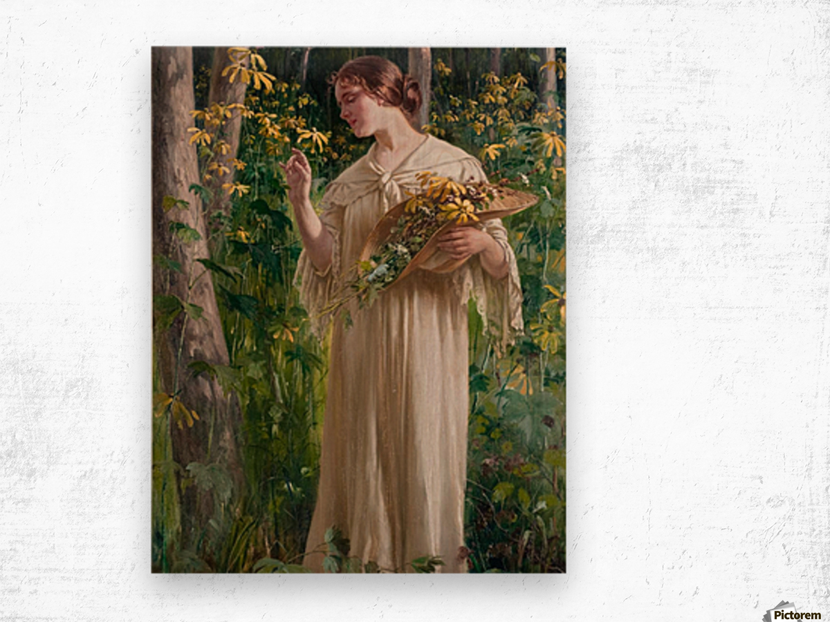 Lady in forest Wood print
