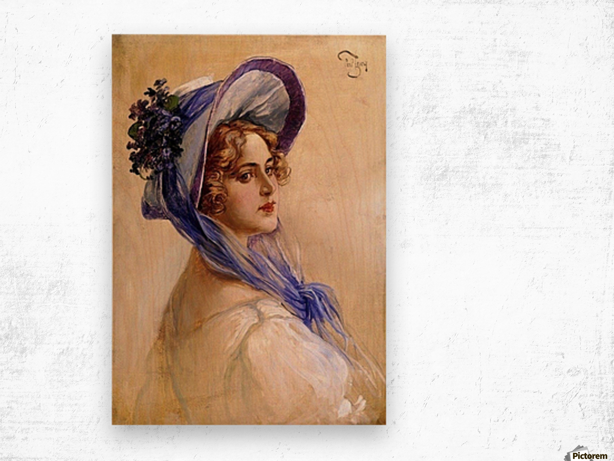 Youbg lady with purple hat Wood print
