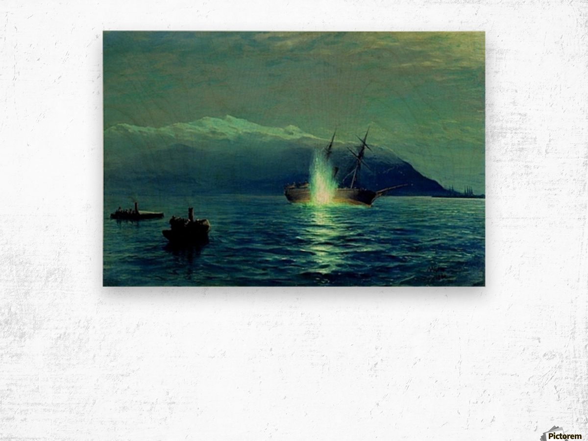 The sinking of the Turkish steamer Intibakh Wood print