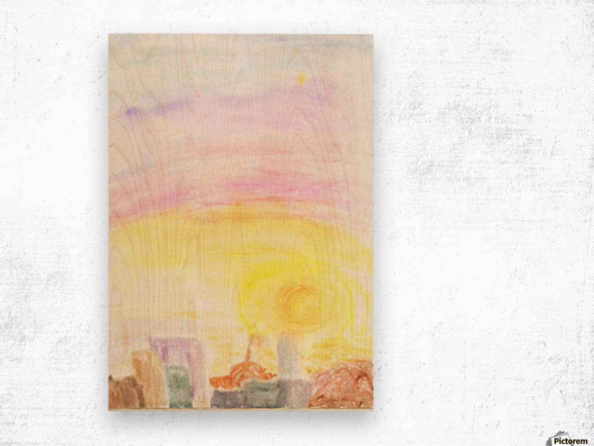 Sunset over the city Wood print