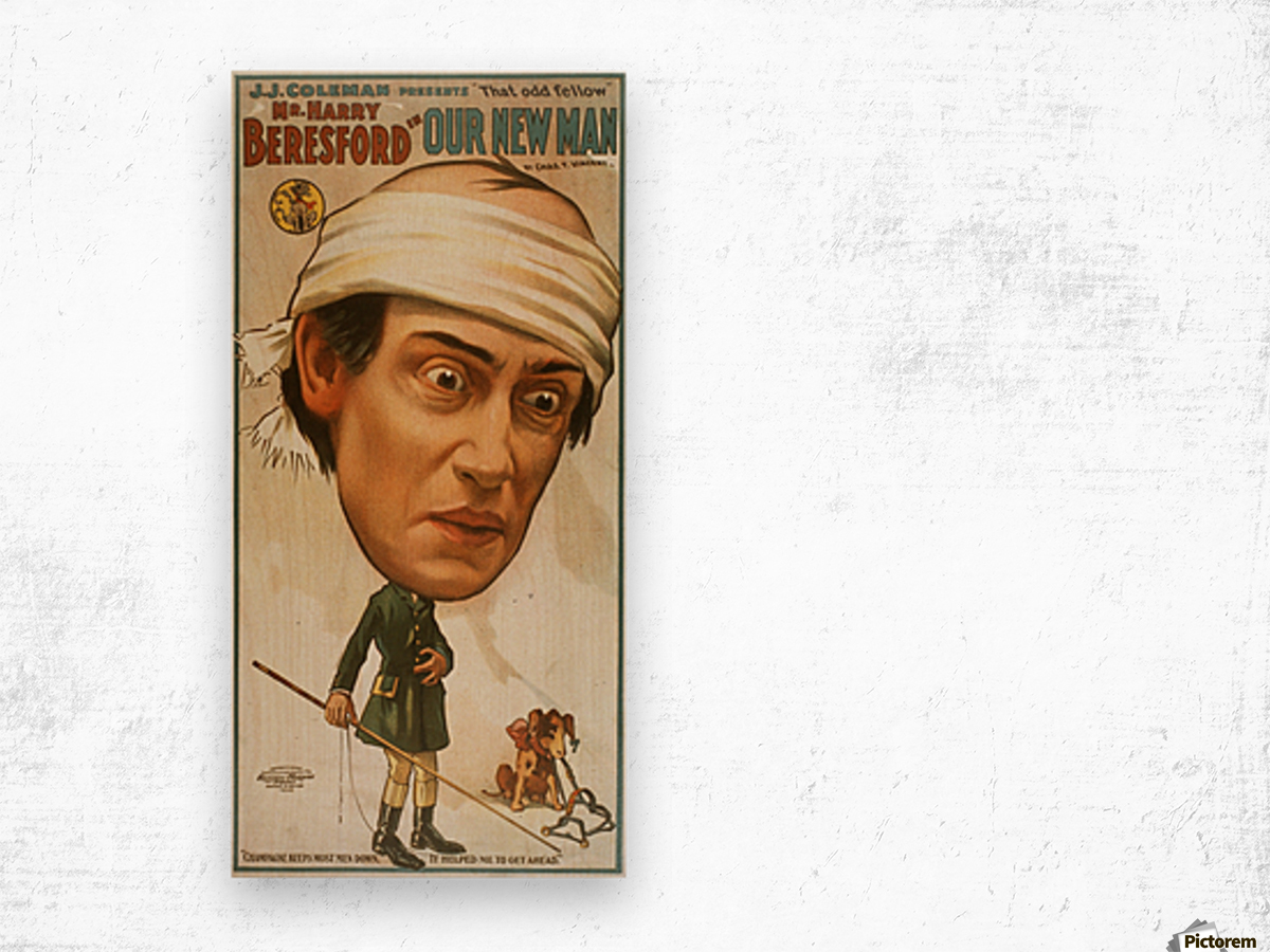 Vintage Play Poster Our new man Wood print