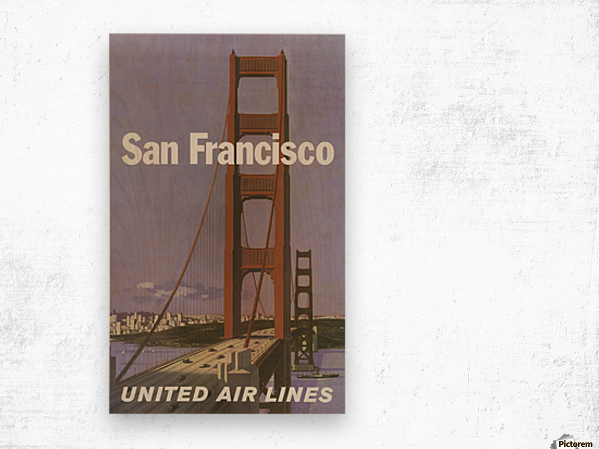United Airlines Poster for San Francisco Wood print
