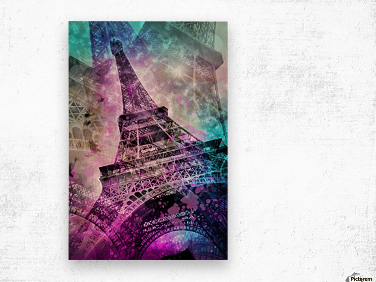 Pop Art Eiffel Tower Impression sur bois