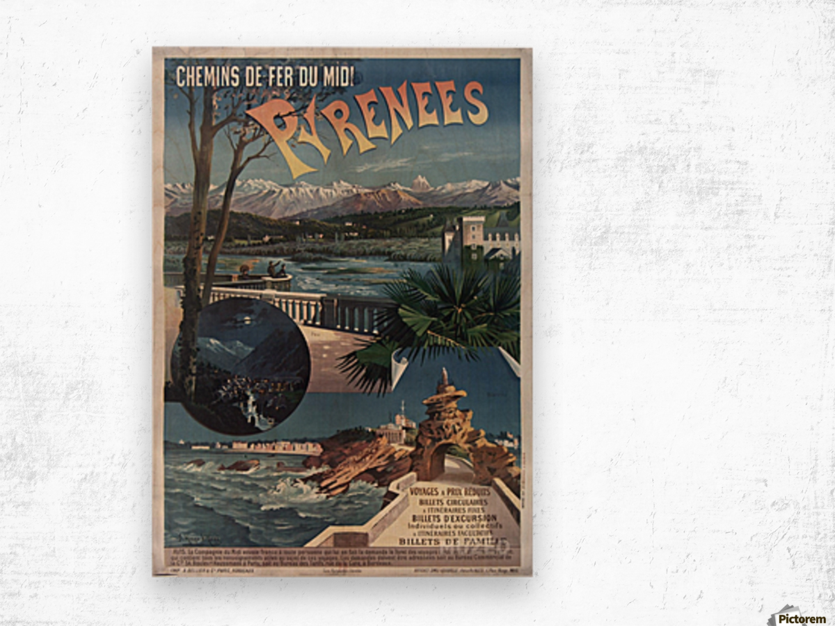 Chemins de fer du midi Pyrenees vintage poster Wood print
