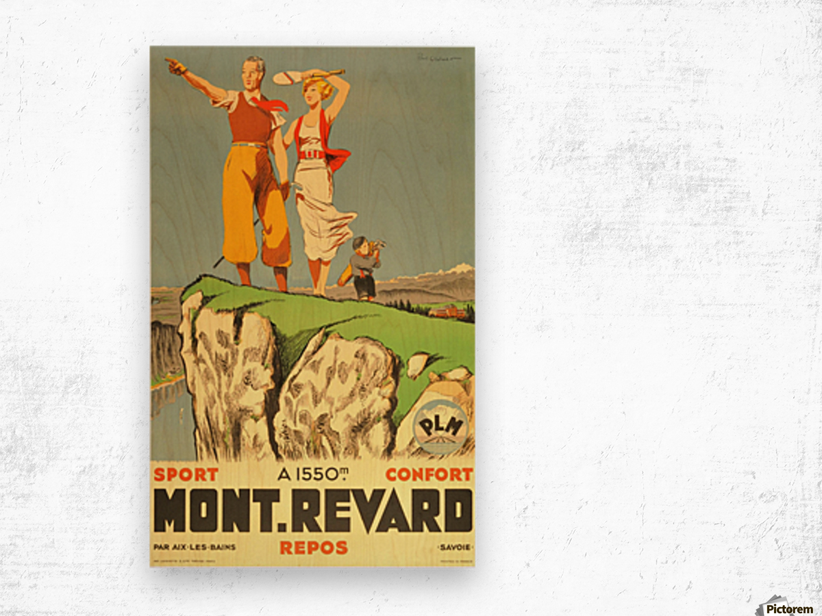 Original vintage poster from 1930 for Mont Revard in Savoie, France Wood print