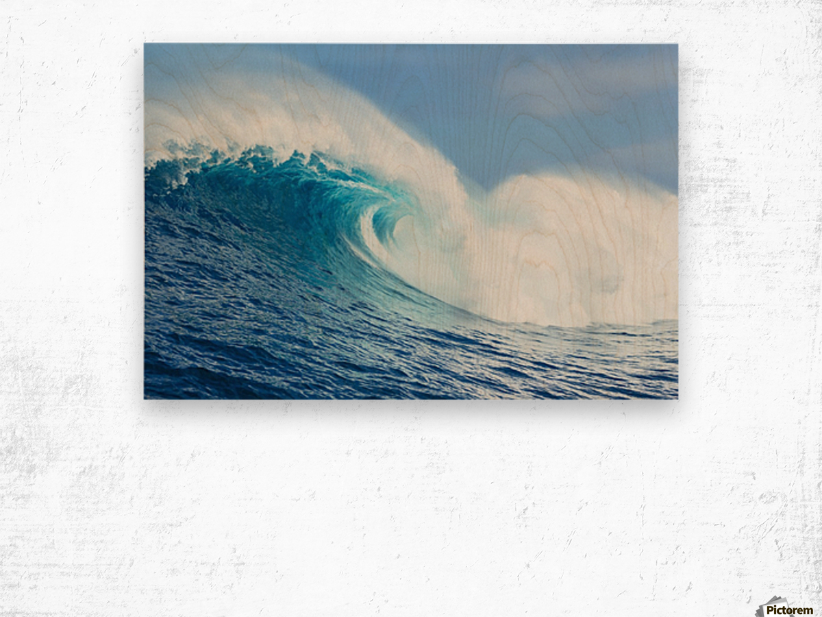 A large ocean wave breaks at the big wave spot know as Jaws or Peahi; Maui, Hawaii, United States of America Wood print
