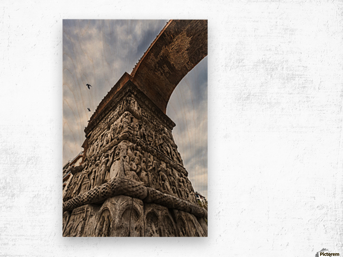 Relief on fortification wall; Thessaloniki, Greece Wood print