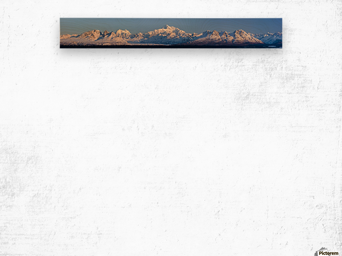Panoramic view of sunrise over Denali and the Alaska Range, Denali State Park, Southcentral Alaska, Winter Wood print