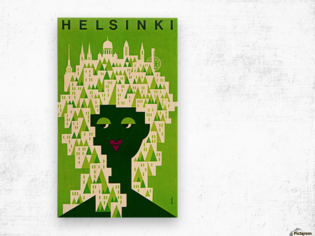 Helsinki Tourist Office Poster Wood print