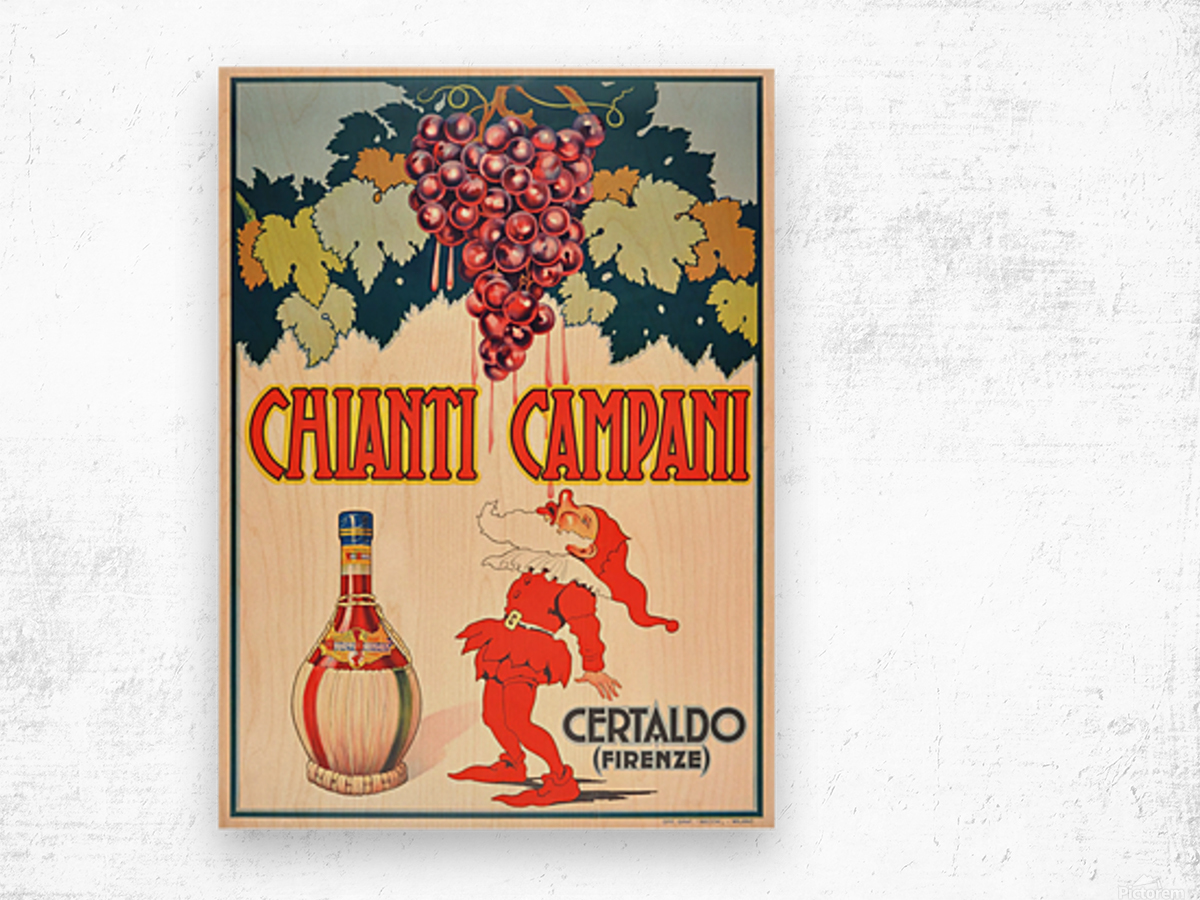 Original Vintage 1940 Advertising Poster For Chianti Campani Wood print