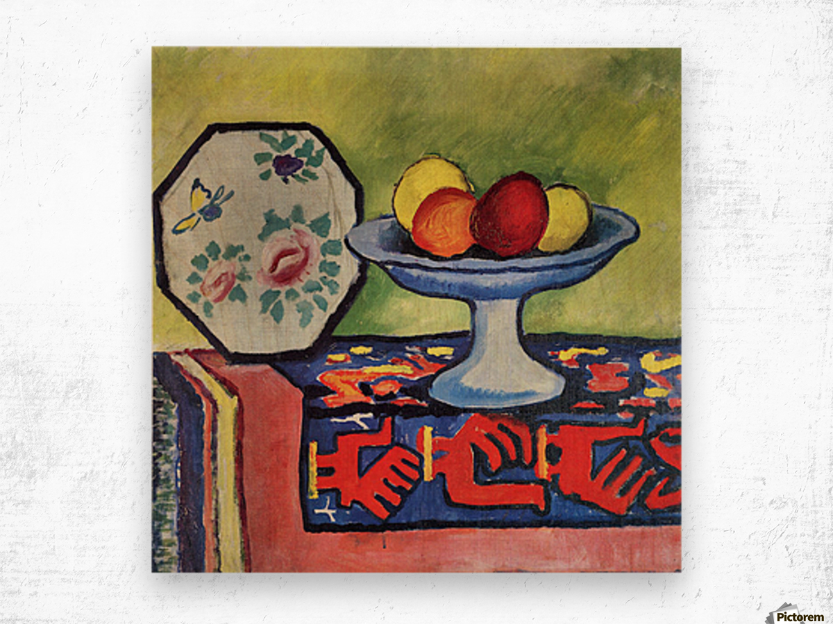 Still life with apple peel and a Japanese fan by August Macke Wood print