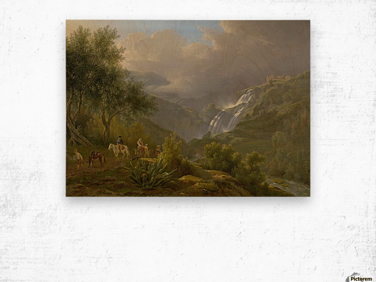 The Cascades at Tivoli, with a storm approaching Wood print