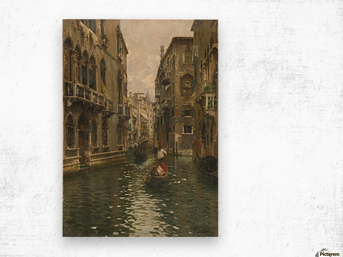 A family outing on a Venetian canal Wood print