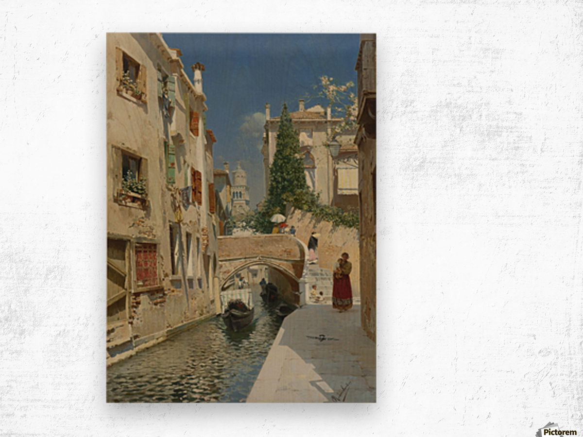 Venetian canal with the campanile of the Frari in the distance Wood print