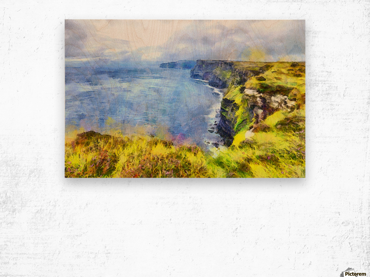 CLIFFS OF MOHER 1 WATERCOLOR Wood print