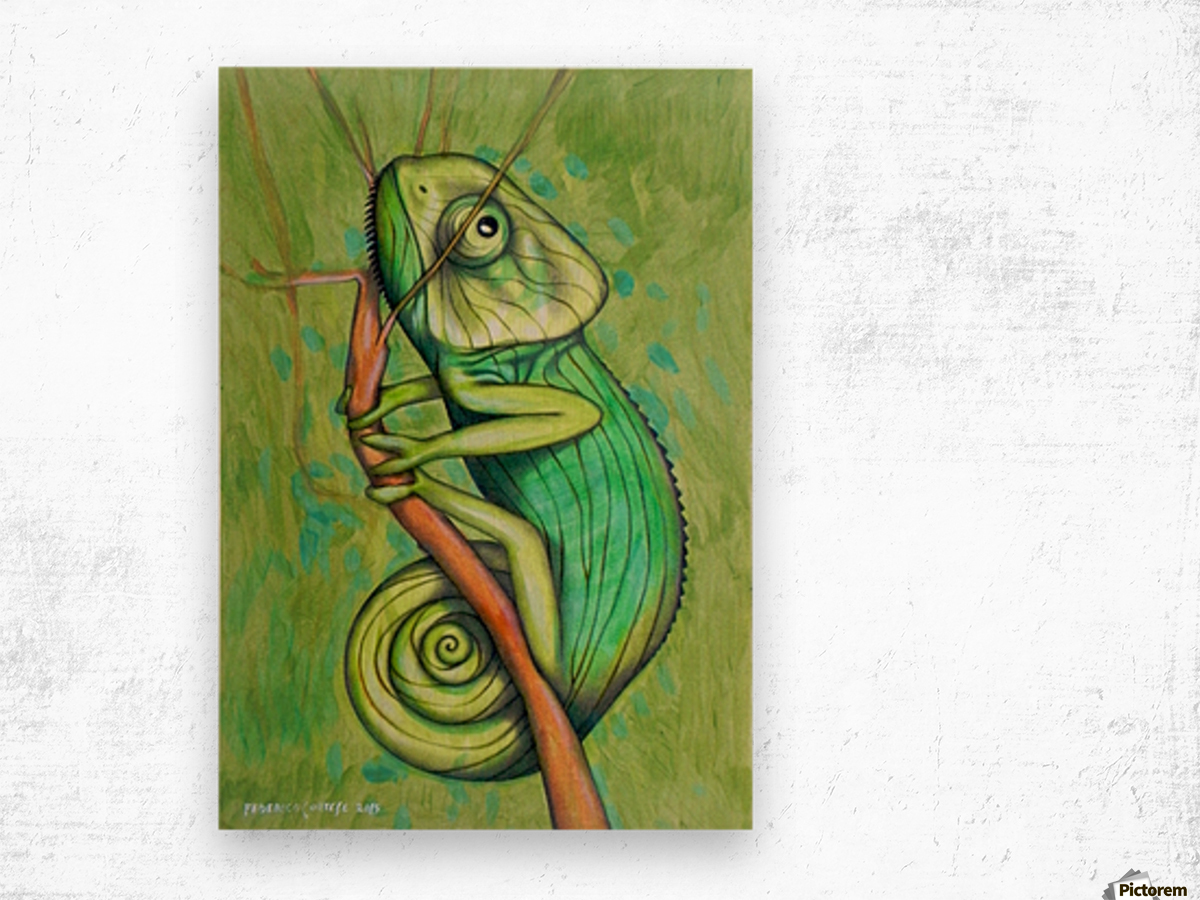 green chameleon Wood print