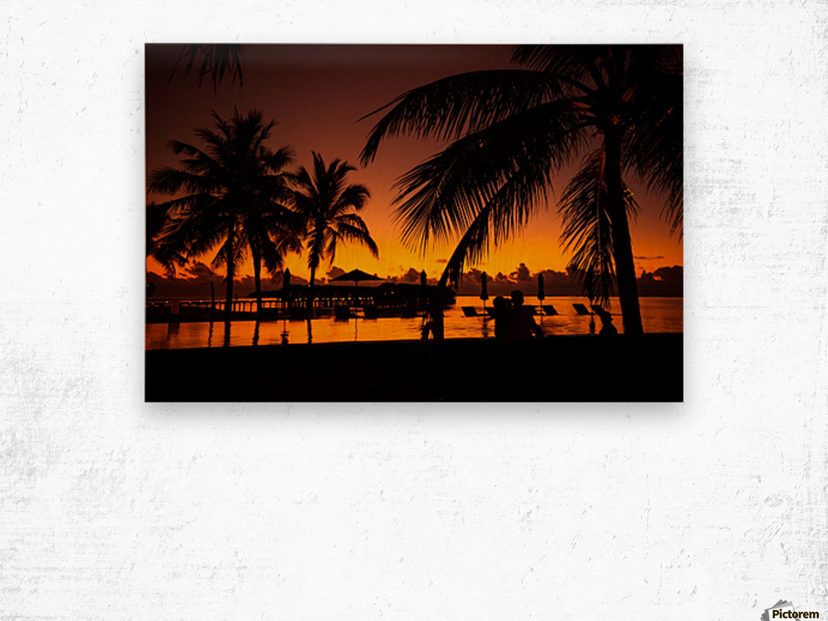 Palm trees silhouette on sunset tropical beach Wood print
