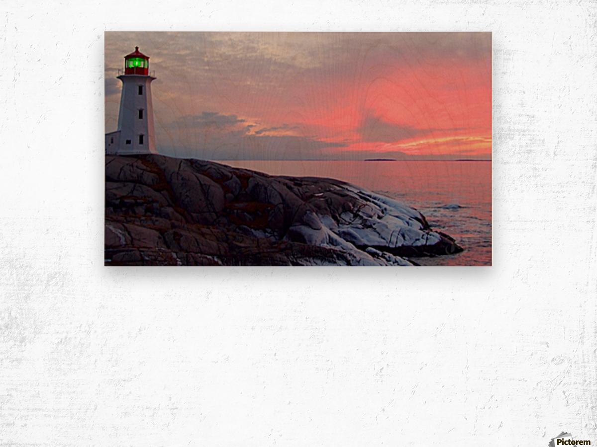 Peggys Cove Winter Sunset Wood print