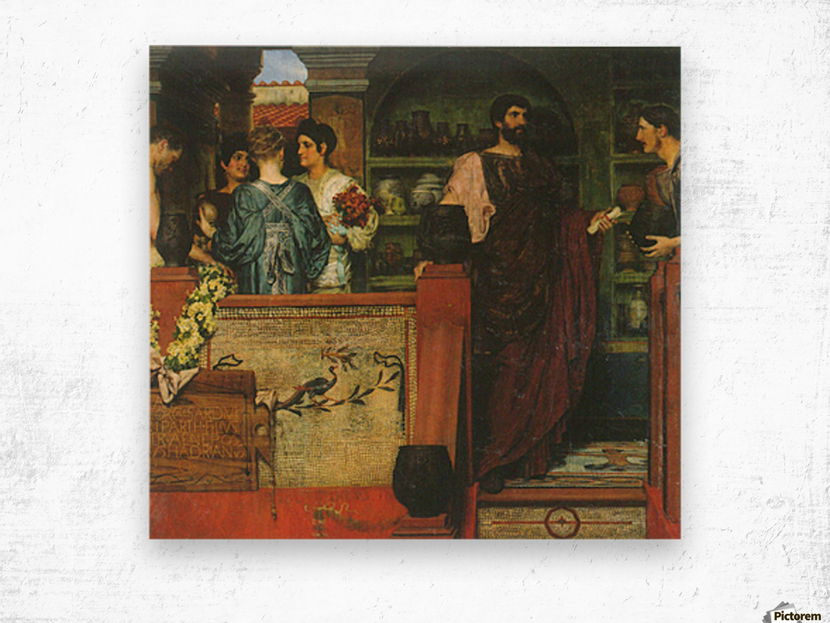 Hadrian visiting a Roman-British pottery by Alma-Tadema Wood print