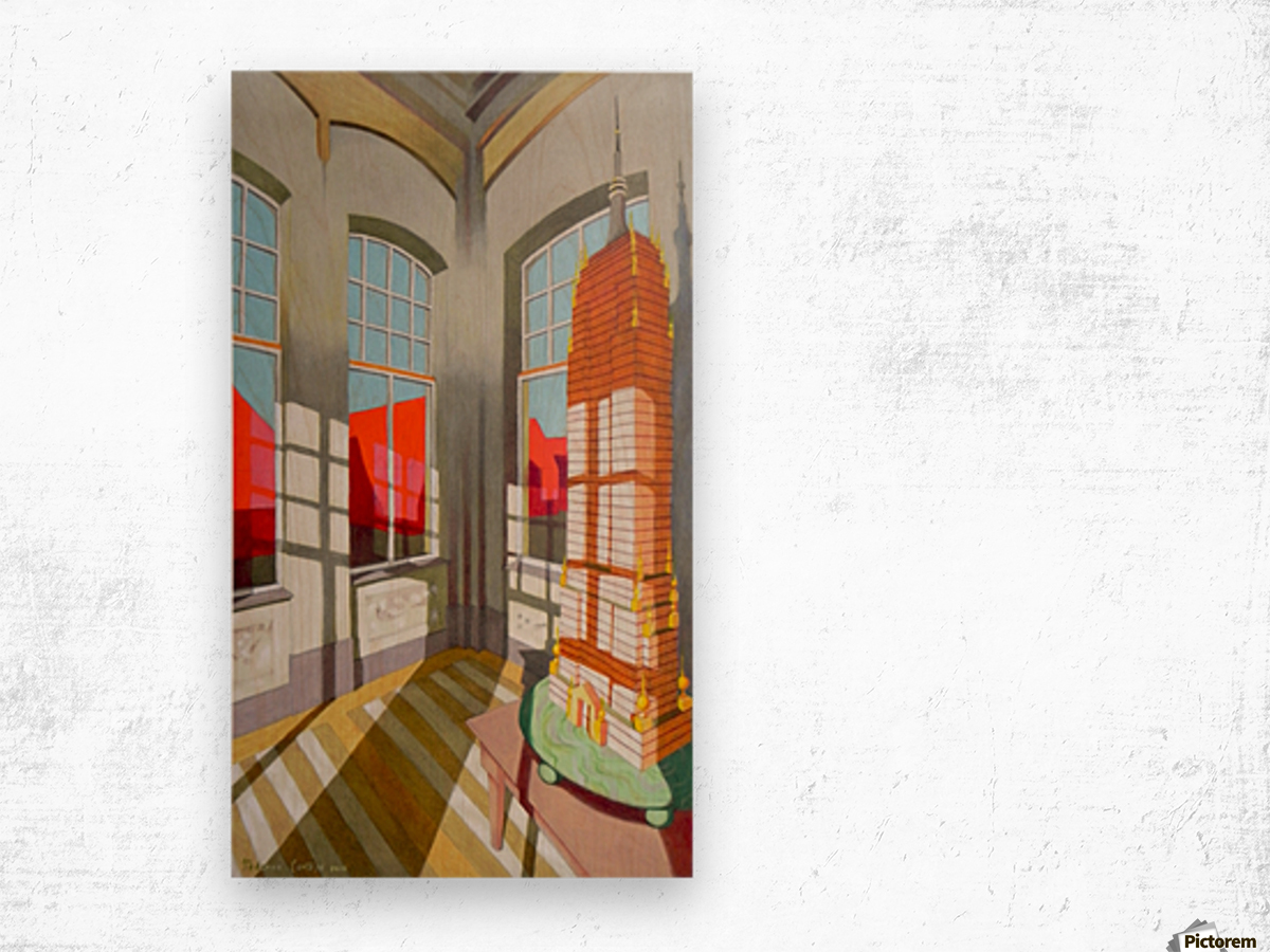 abandoned room with the empire state building Wood print
