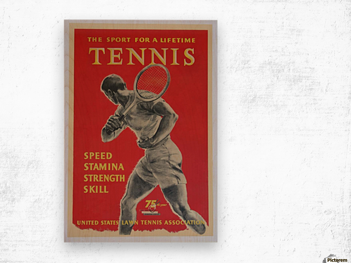 United States Lawn Vintage Tennis Poster in 1956 Wood print