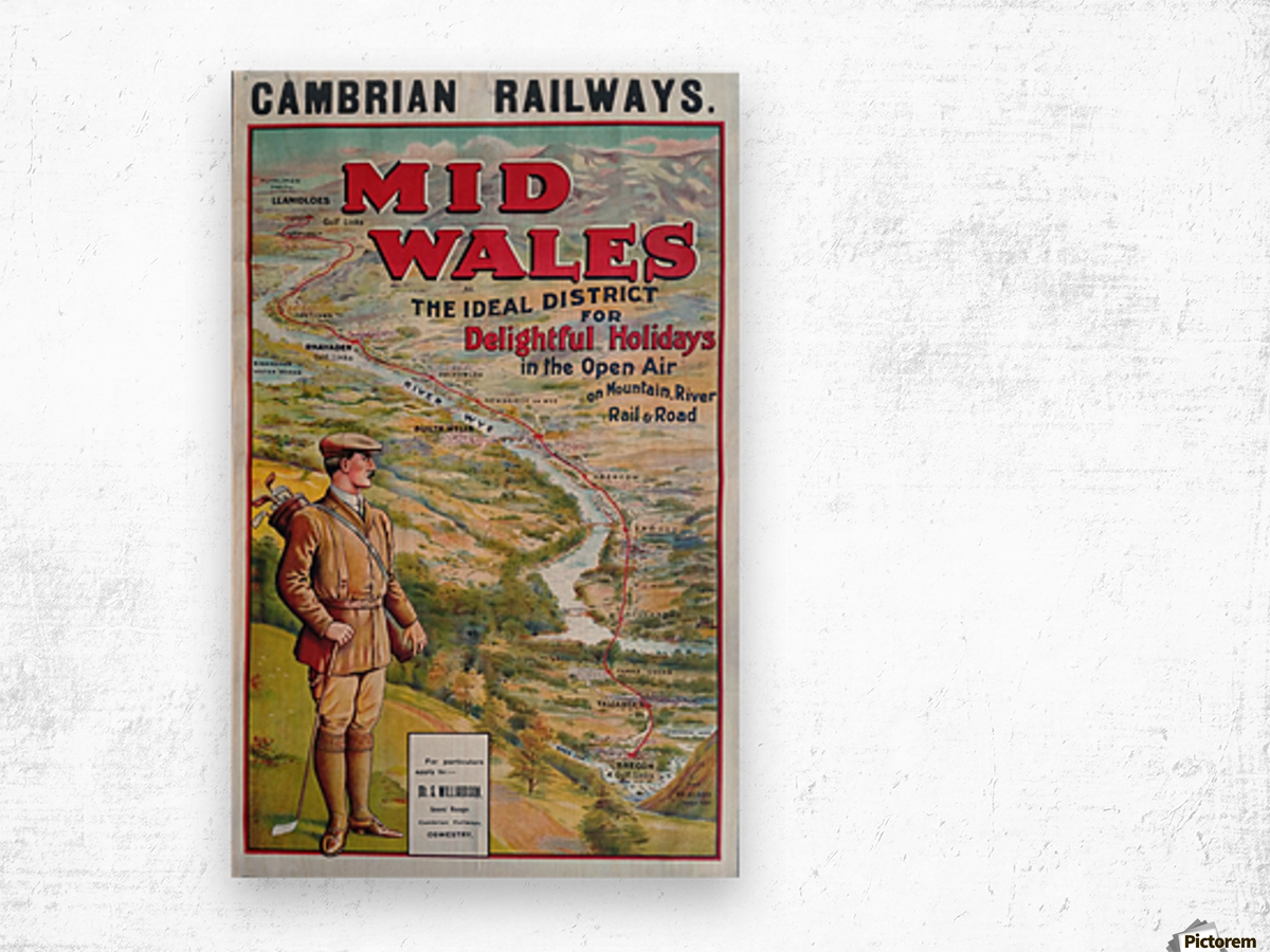 Original vintage poster golf Cambrian railways Mid Wales river Wood print
