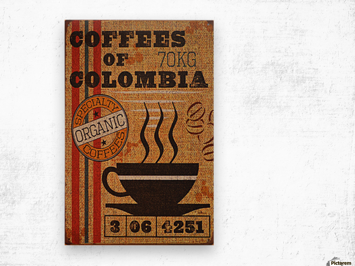 Colombian coffee vintage poster Wood print
