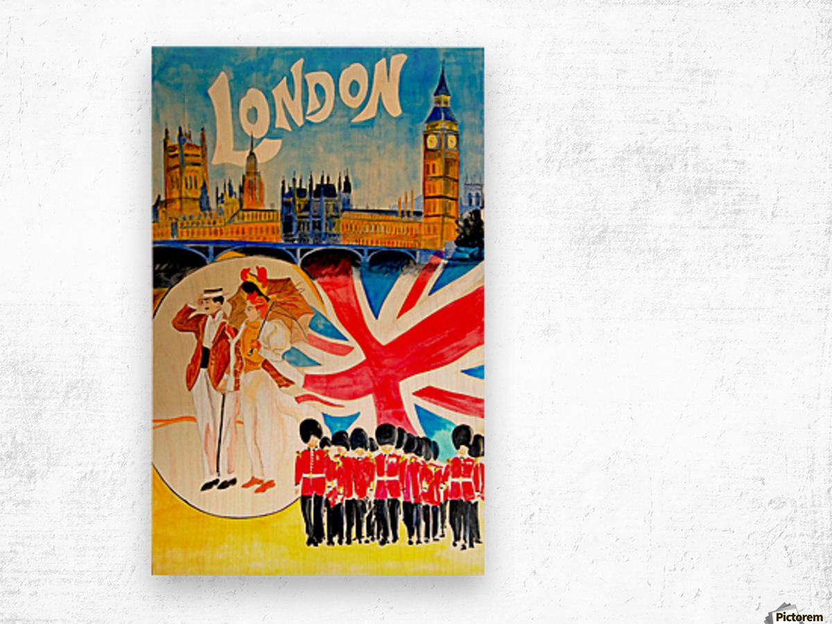 Vintage travel poster for London, England Wood print