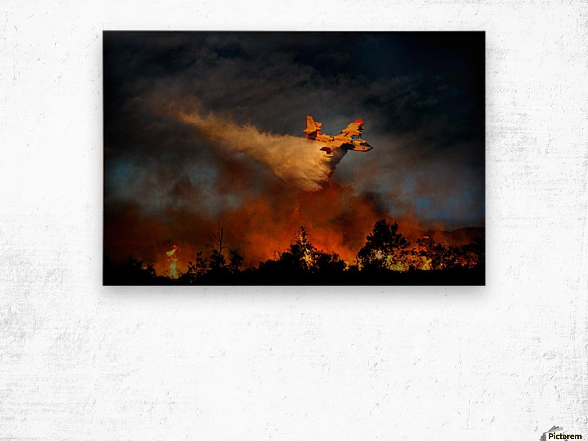 Wall of fire Wood print