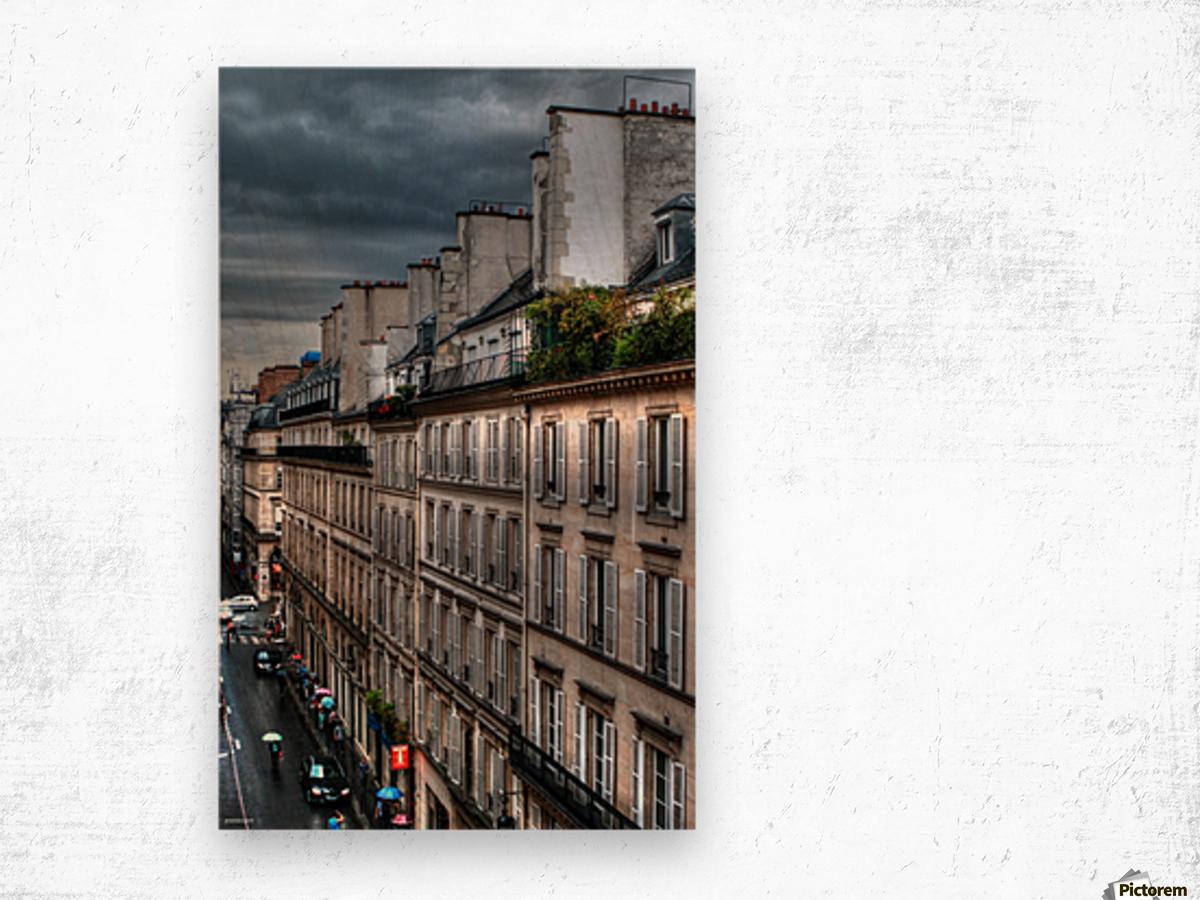 autumn rain paris france tom prendergast Wood print
