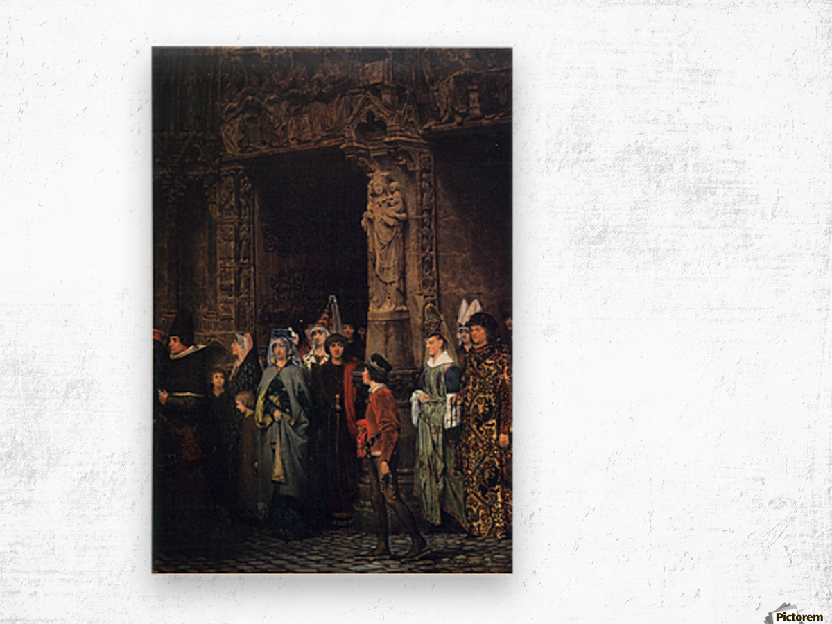Leaving a church in the 15th Century by Alma-Tadema Wood print