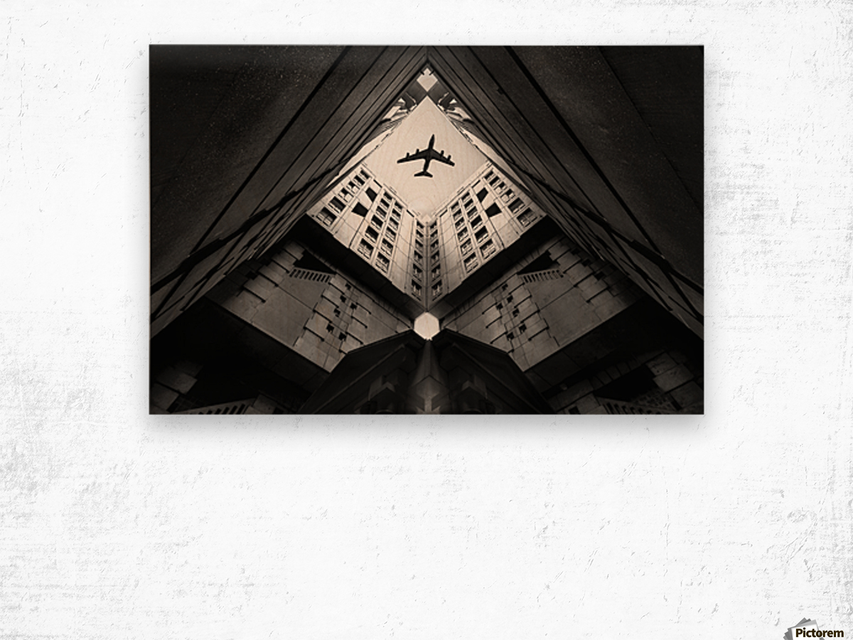 Plane city Wood print