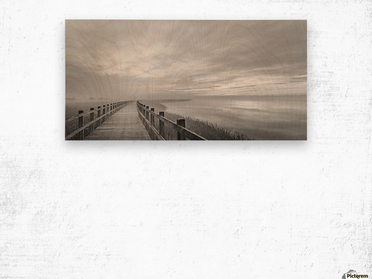 The long wooden footbridge. Wood print