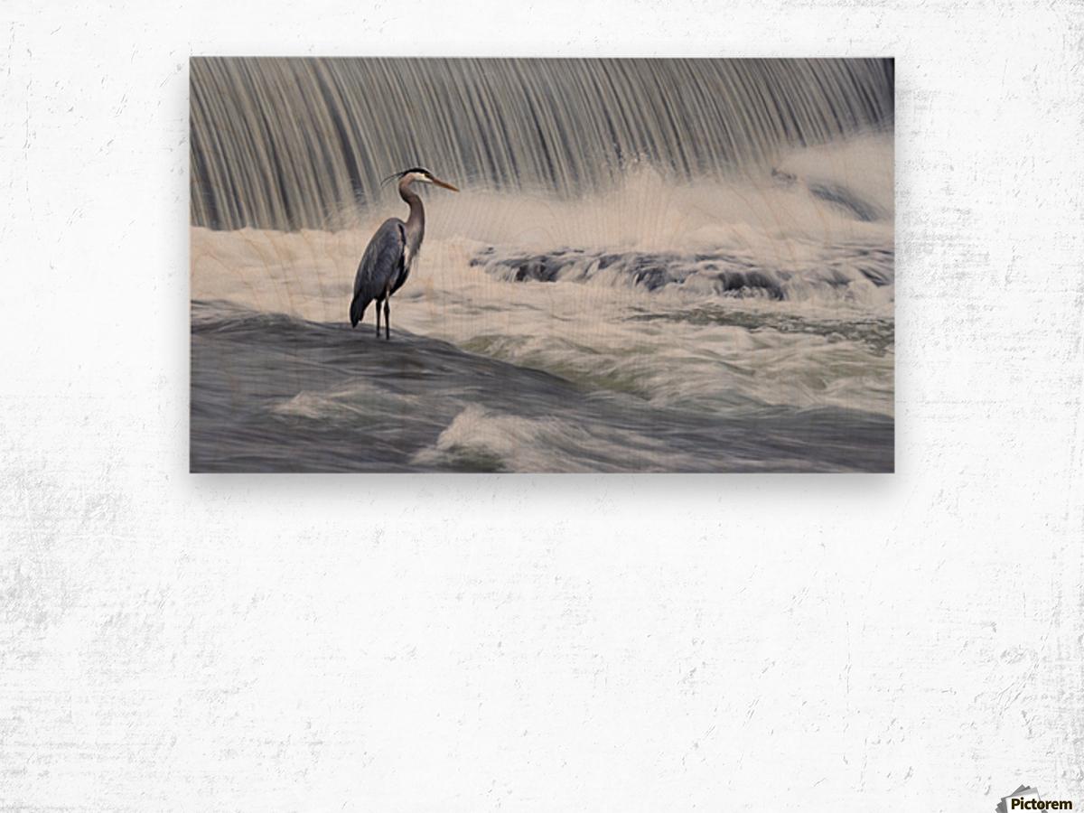 Solitude in stormy waters Wood print