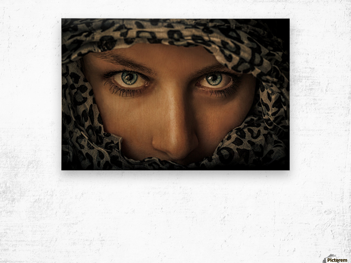 Woman with scarf Wood print