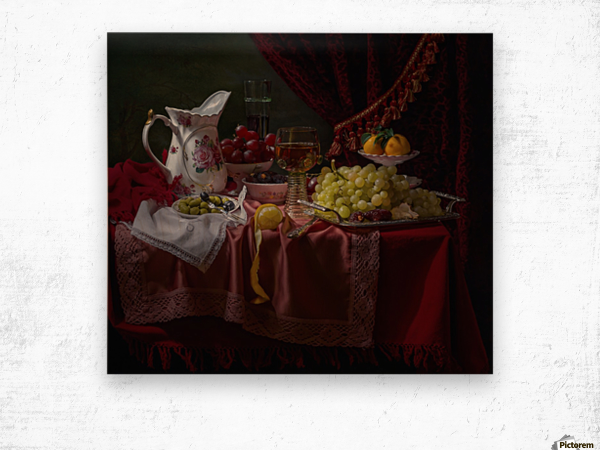 Still life in the Dutch style with a jug Wood print