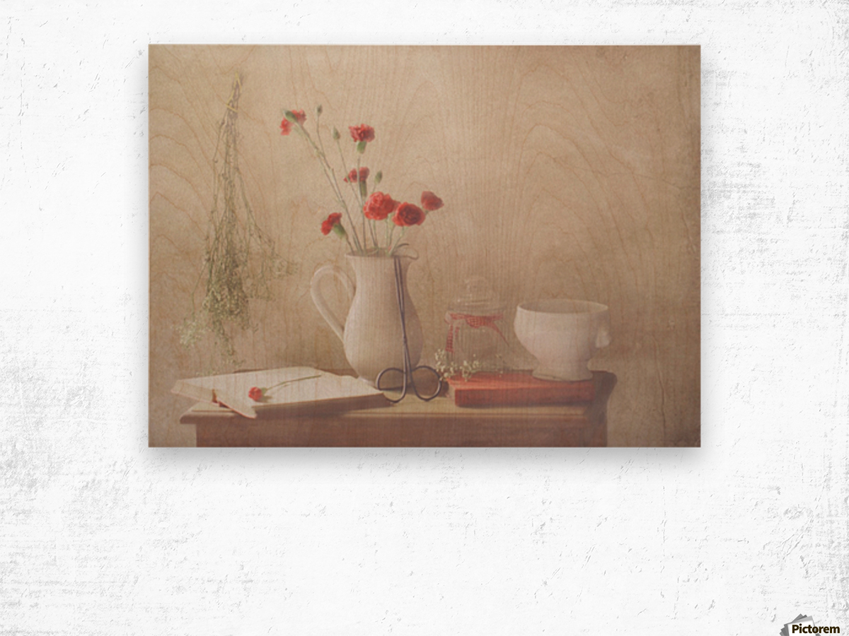 The Red Flowers Wood print