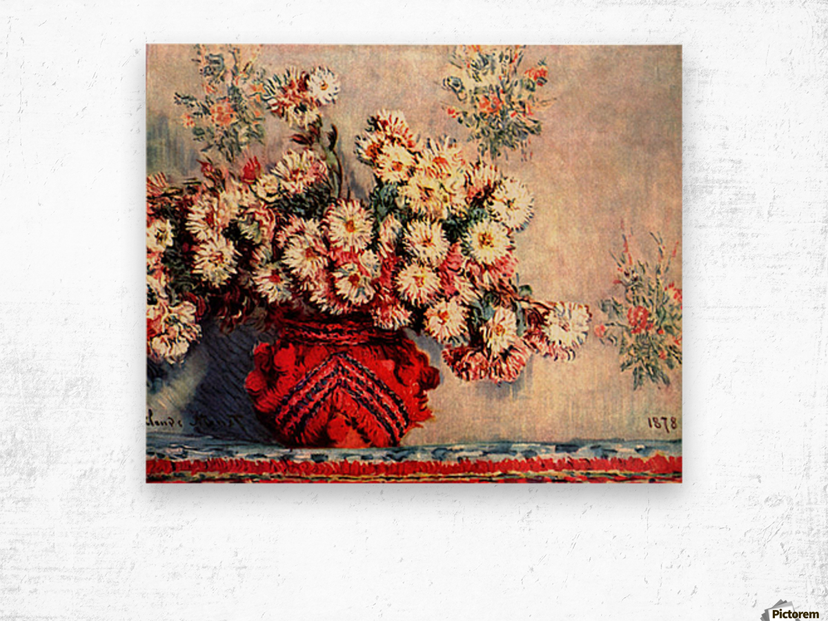still life chrysanthemums Wood print