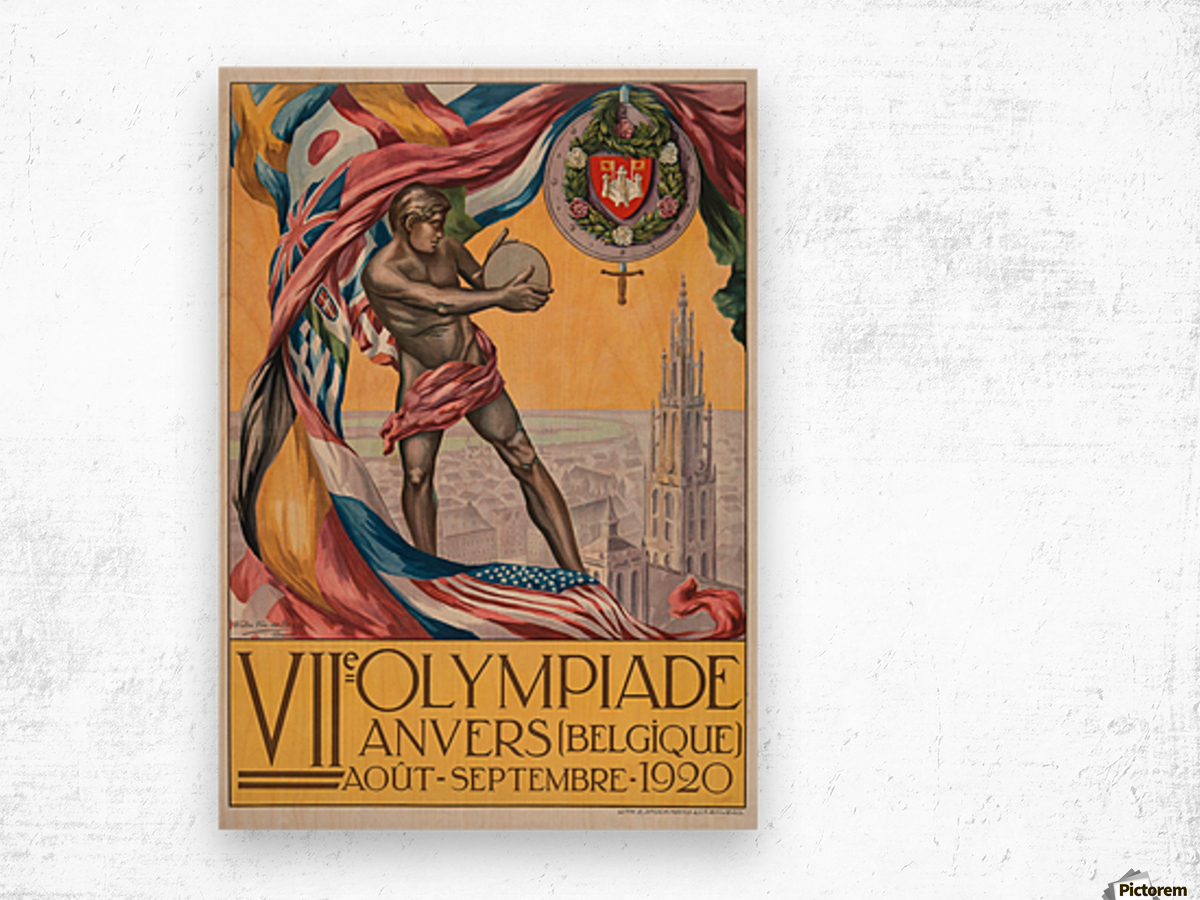 VII Olympiade, Anvers lithographic poster Wood print