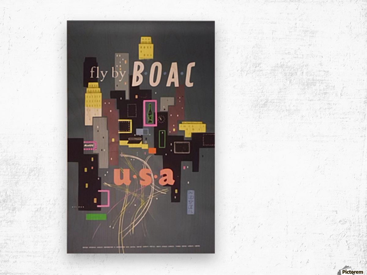 Original 1954 BOAC USA Travel Poster Wood print