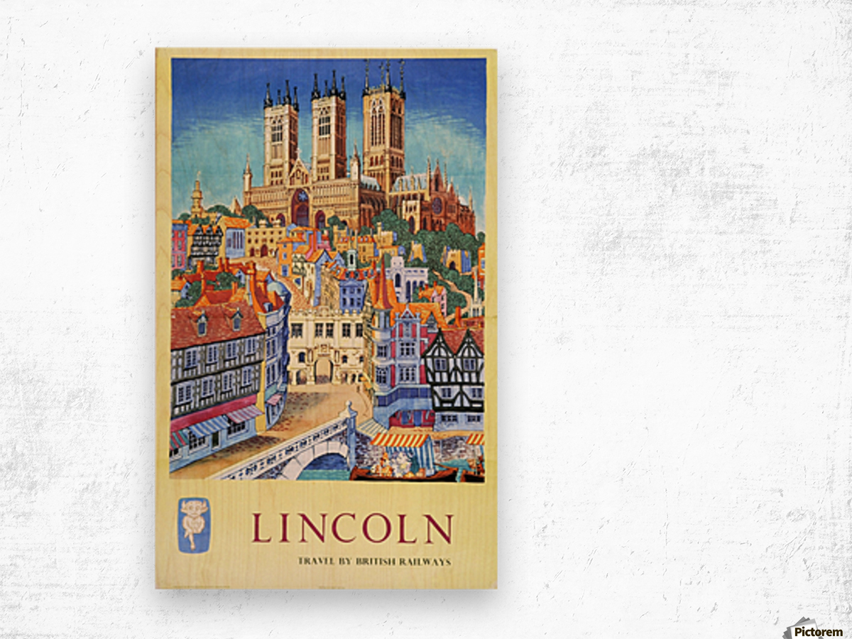 Lincoln vintage travel poster for British Railways Wood print
